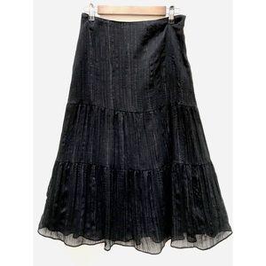 Worthington Black Sheer Shimmer Maxi Skirt